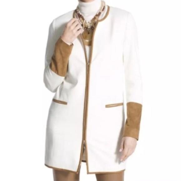 fae0ddec6572dd Chico's Jackets & Coats | Chicos Ponte Topper Jacket Faux Suede Trim ...